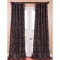 Exclusive Fabrics Astoria Black Pewter Faux Silk Jacquard Curtain Panel
