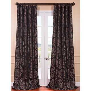 Exclusive Fabrics Astoria Black/Pewter Faux Silk Jacquard Curtain Panel