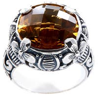 Handmade Sterling Silver Bali Citrine Floral Etchings Ring (Indonesia)