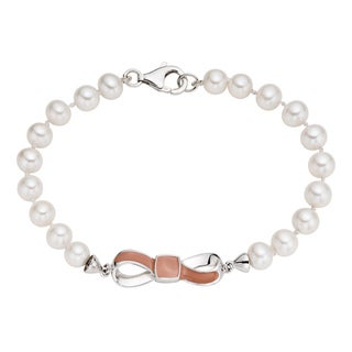 Pearlyta Sterling Silver FW Pearl and Enamel Bow Bracelet (7-8 mm)