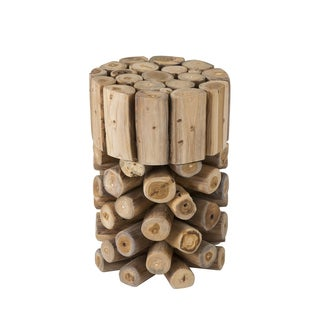 Decorative Brown Rustic Natura Teak Wood Bar Stool