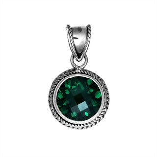 Handmade Sterling Silver Bali Faceted Gemstone Round Rope Bezel Pendant (Indonesia)