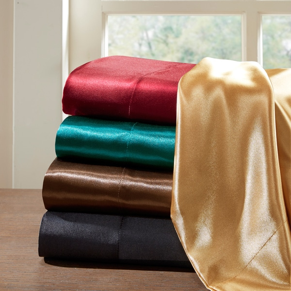 New Cal King Silk Comfort Luxury Satin Fitted Flat /& Pillowcases Sheet set