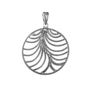 Handmade Sterling Silver Round Beaded Leaf Bali Pendant (Indonesia)