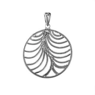 Handmade Sterling Silver Round Beaded Leaf Bali Pendant (Indonesia)