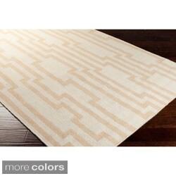 Market Place Hand-woven Geometric Beige Wool Rug (3'6 x 5'6)