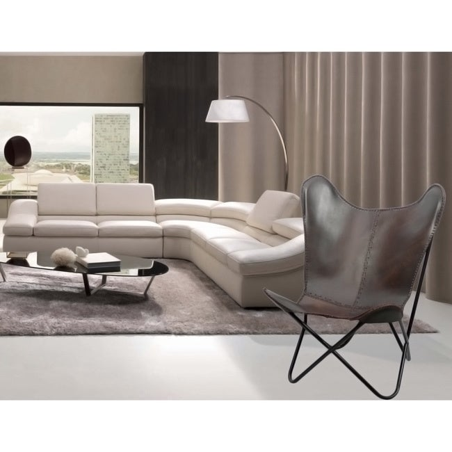High Quality Brown Leather Butterfly Chair