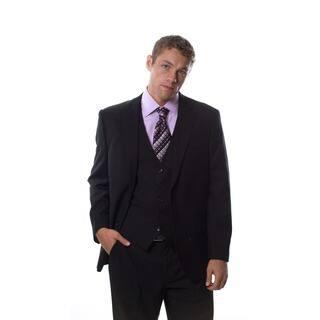 Caravelli Italy Men's Super 150 Black 3-piece Suit|https://ak1.ostkcdn.com/images/products/8232734/P15561779.jpg?impolicy=medium