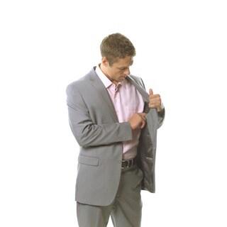 Caravelli Men's Light Grey Slim 2-piece Pleated Suit