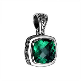 Sterling Silver Bali Faceted Green Quartz Floral Motif Bezel Pendant (Indonesia)
