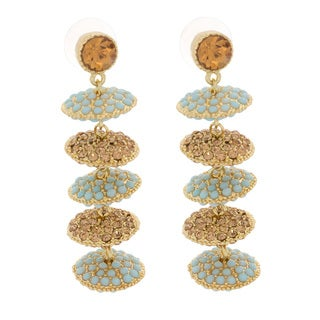NEXTE Jewelry Goldtone Teal and Amber Rhinestone Disc Earrings