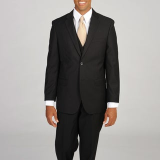 Caravelli Italy Men's Super 150 3-piece Black Pinstripe Suit