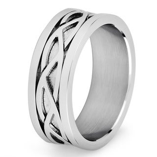 Stainless Steel Men's Crucible Weave Pattern Flat Ring