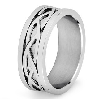 Stainless Steel Men's Crucible Weave Pattern Flat Ring - White (5 options available)