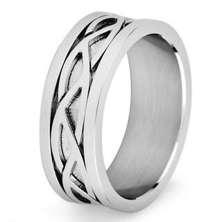 Stainless Steel Men's Crucible Weave Pattern Flat Ring