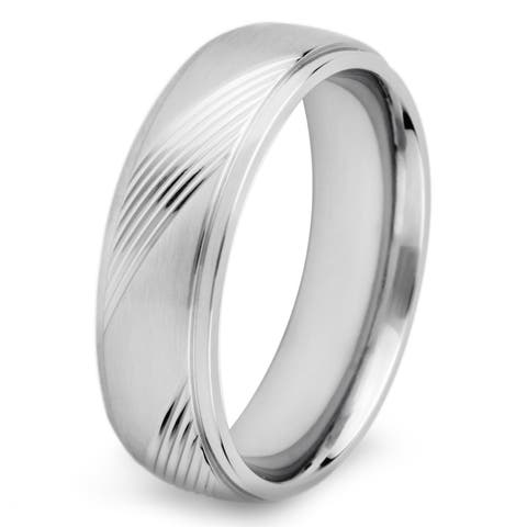 Stainless Steel Men's Crucible Solid and Diagonal Groove Ring - White