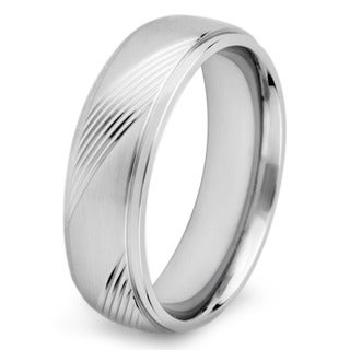 Stainless Steel Men's Crucible Solid and Diagonal Groove Ring