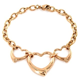 ELYA Rosetone or Goldtone Steel Triple Open Heart Bracelet