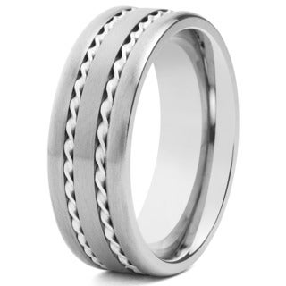 Crucible Brushed Titanium Sterling Silver Double Rope Inlay Comfort Fit Ring - 8mm Wide