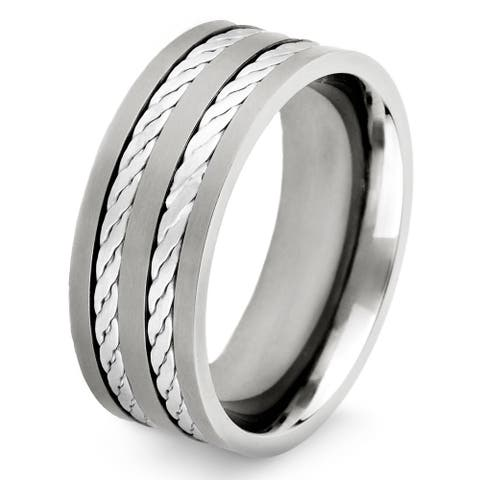 Crucible Titanium and Sterling Silver Men's Double Rope Inlay Ring - White