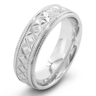 Link to Crucible Stainless Steel Diamond Pattern Ring (7mm) - White Similar Items in Men's Jewelry