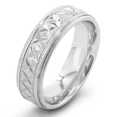 Crucible Stainless Steel Diamond Pattern Ring (7mm) - White