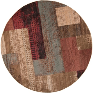 Hussar Tan Transitional Abstract Area Rug - 8' Round