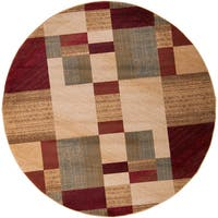 Tughai Red Transitional Abstract Area Rug - 8' Round