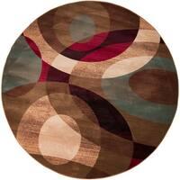 Bohdan Tan Contemporary Geometric Area Rug (8' Round) - 8'