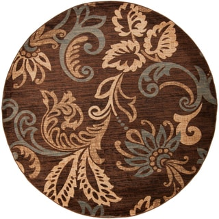 Demirel Meticulously Woven Transitional Floral Rug (8' Round)