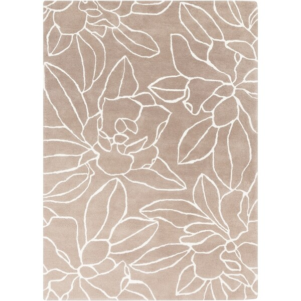 """Hand-tufted Grey Contemporary Floral Wool Area Rug - 3'3"""" x 5'3"""""""