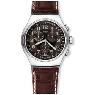 Swatch Men's Irony Brown Leather Quartz Watch with Black Dial|https://ak1.ostkcdn.com/images/products/8232988/P15561994.jpg?impolicy=medium