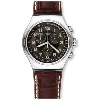 Swatch Men's Irony Brown Leather Quartz Watch with Black Dial