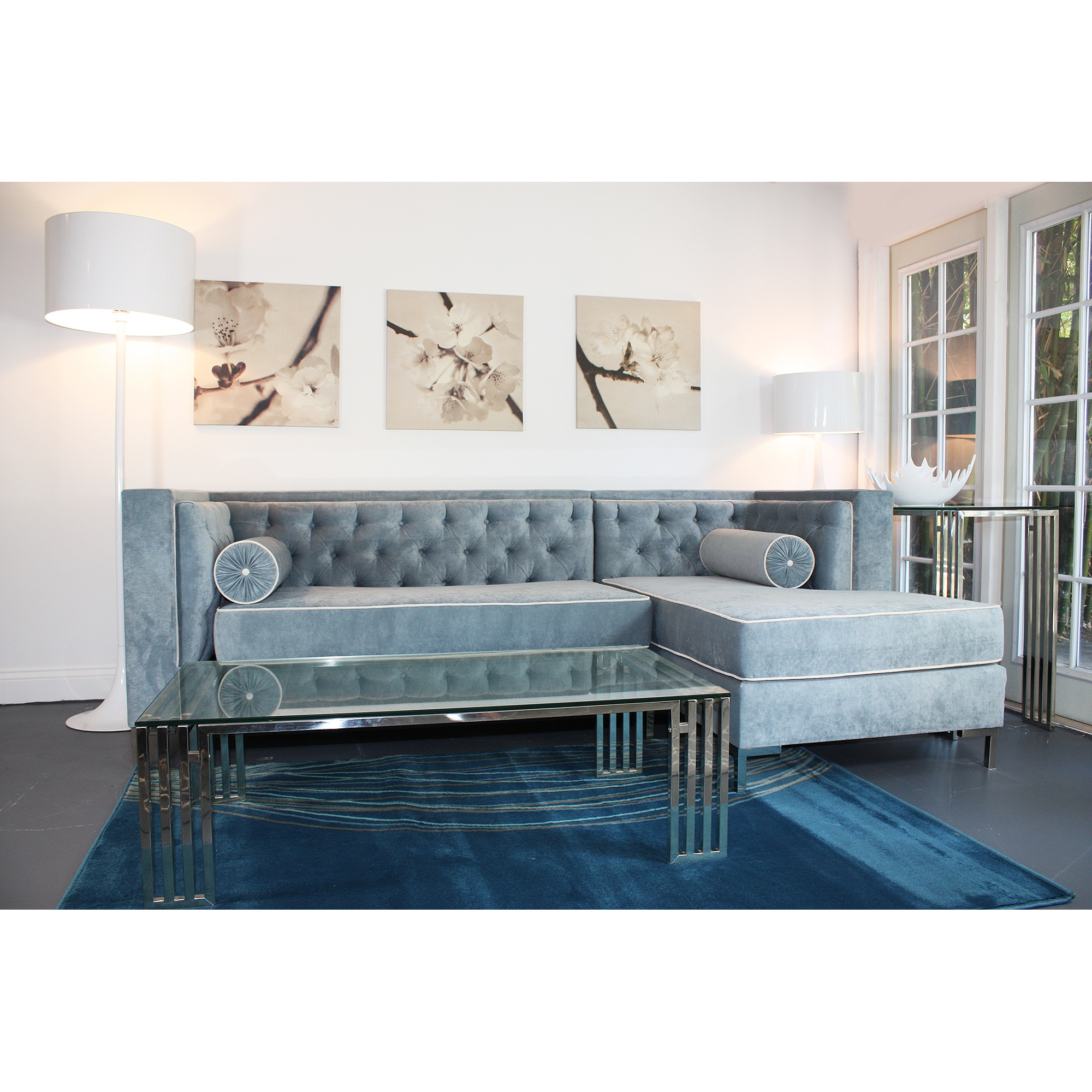 Captivating Wedgewood Blue Tufted 8 Foot Sectional Sofa. Selfbutler Be Inspired