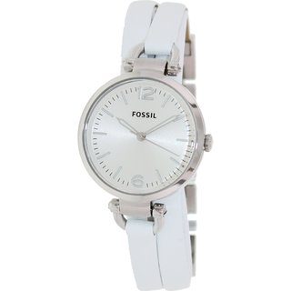 Fossil Women's ES3246 'Georgia' White Leather Strap Watch