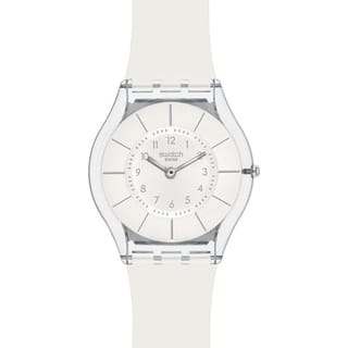 Swatch Women's Skin White Resin Quartz Watch|https://ak1.ostkcdn.com/images/products/8233090/8233090/Swatch-Womens-Skin-White-Resin-Quartz-Watch-P15562097.jpg?impolicy=medium