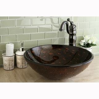 Round Brown Tempered Glass Vessel Sink