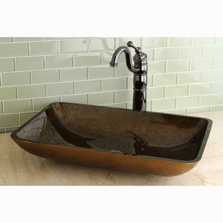 Rectangle Copper Tempered Glass Vessel Sink