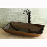 Kingston Brass Rectangle Copper Tempered Glass Vessel Sink