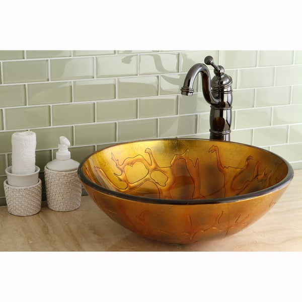 Fire Round Tempered Glass Vessel Sink