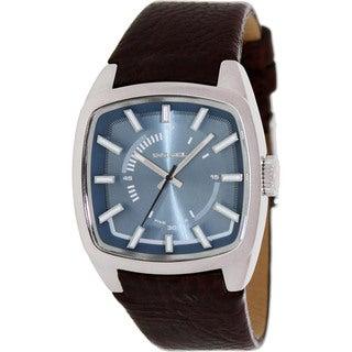 Diesel Men's Brown Leather Analog Blue Dial Quartz Watch