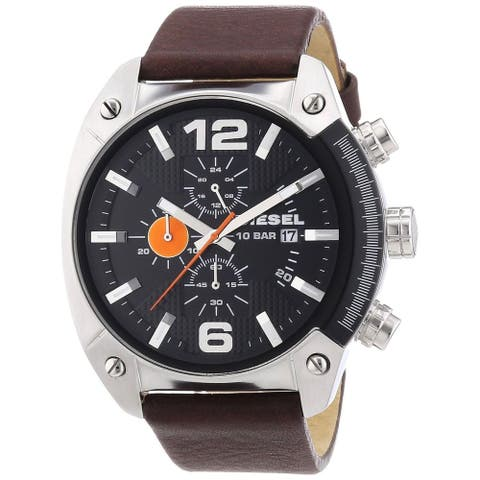 Diesel Men's Brown Leather Analog Black Dial Quartz Watch