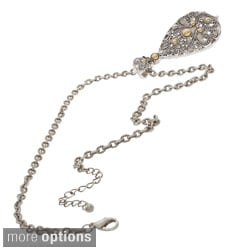 NEXTE Jewelry Silvertone Rhinestone Reversible Shape Necklace