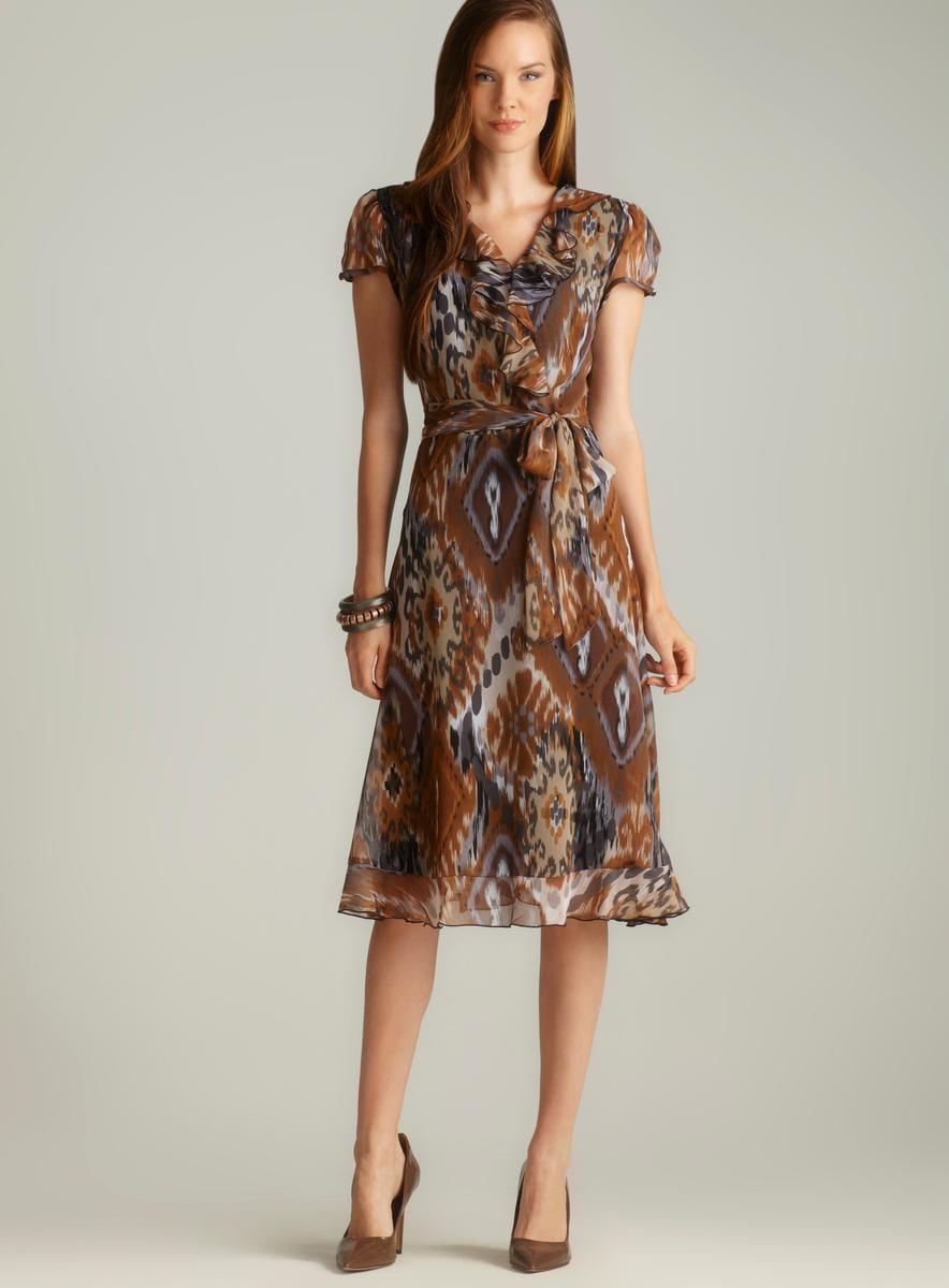 Msk Ruffle Front Side Tie Printed Chiffon Dress Free