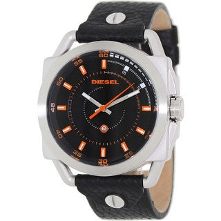 Diesel Men's DZ1578 Black Leather Analog Quartz Watch with Black Dial