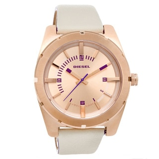 Diesel Women's DZ5358 Beige Leather Quartz Watch with Rose-Gold Dial