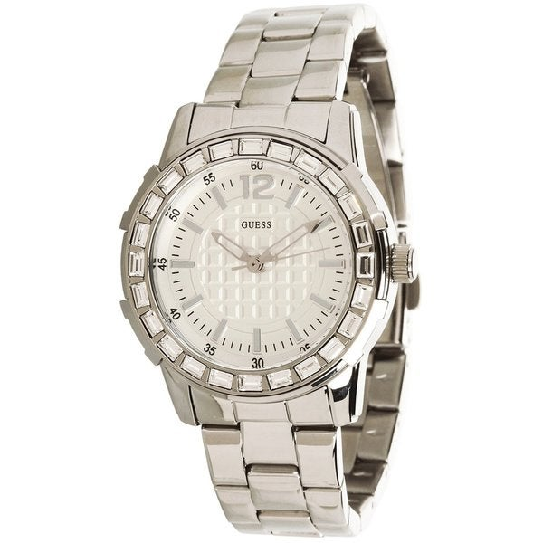 Guess Women's U0018L1 Silver Stainless-Steel Quartz Watch with White Dial