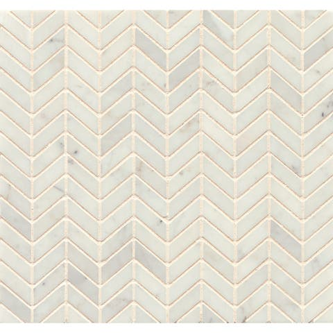 White Carrara Marble Chevron Mosaic Polished (Box of 10 sheets)