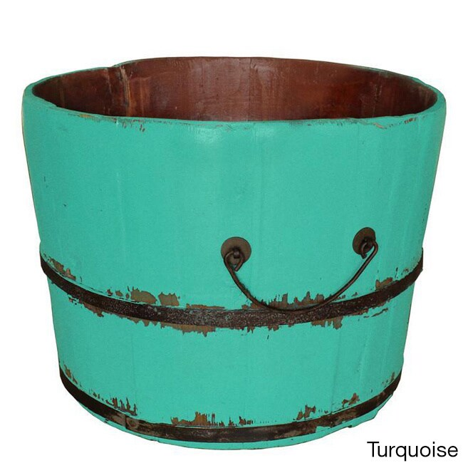 Antique Revival Wooden Rice Bucket (Green) (Iron)