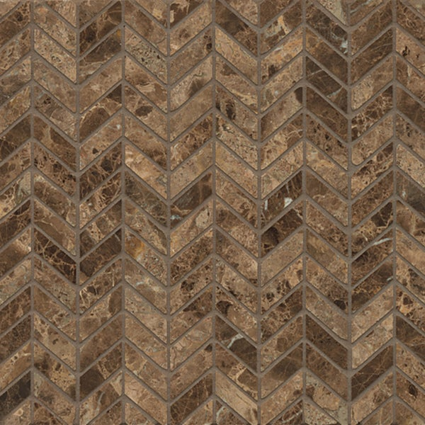 Dark Brown Floor Tile: Shop Emperador Dark Marble Chevron Mosaic Polished Tiles